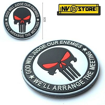 Patch in PVC Teschio SNIPER Punisher Navy Seals Tonda 8 cm Militare Velcrata BK