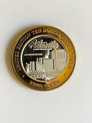 Atlantis Casino Limited Edition Ten Dollar Gaming Token - .999 Silver Strike
