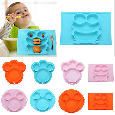 Kids Safe Silicone Bowl Plate Dish Suction Tableware Baby Feeding Dining Dishes