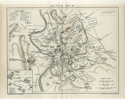 1895 ANCIENT ROME CITY and OUTSKIRTS Antique Map
