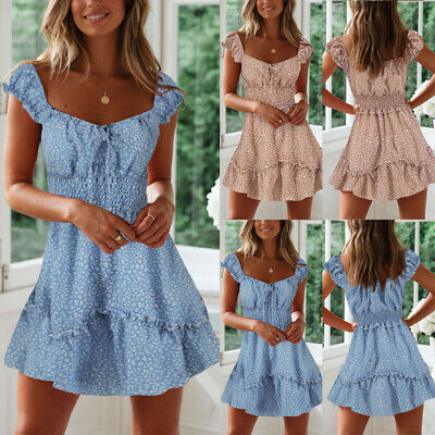Women's Sexy Short Sleeve Ruffle Bandage Stretch Waist Fitted Mini Dress Sweet