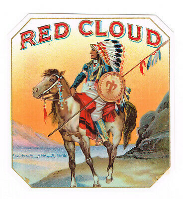 Authentic Cigar Box Label Vintage Outer Native American Indian Red Cloud C1910