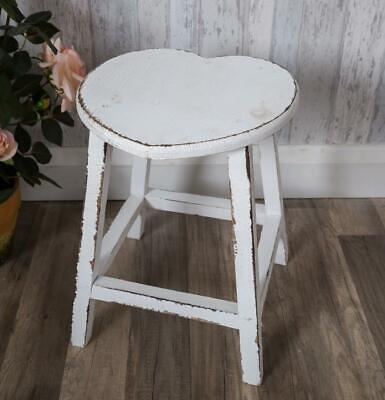 Large Distressed White Heart Shaped Stool Shabby Vintage Chic Wooden Rustic Home