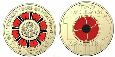 2019 $2 coins - 100 years of repatriation - 2018 $2 Remembrance Day red poppy