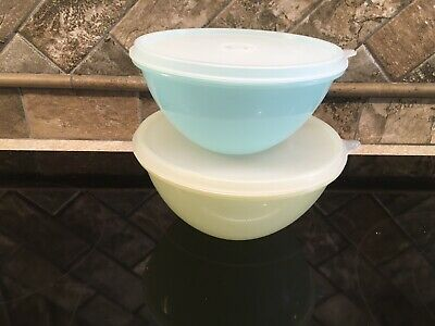 Tupperware 234 Blue 235 Yellow Wonderlier Mixing Bowl 227 & 228 Frosted Seal GUC
