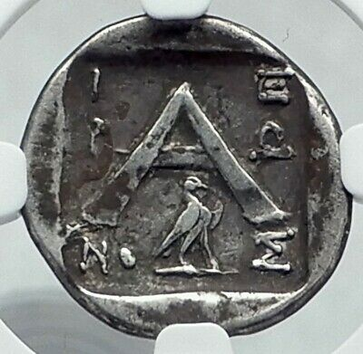 ARGOS in ARGOLIS Authentic Ancient 90BC Silver Greek Coin w WOLF NGC i77885
