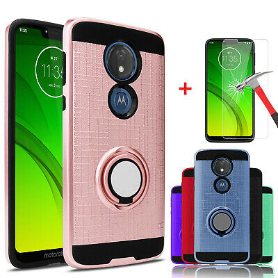 For Motorola Moto G7 Power/G7 Supra Case With Ring Stand Holder+Screen Protector