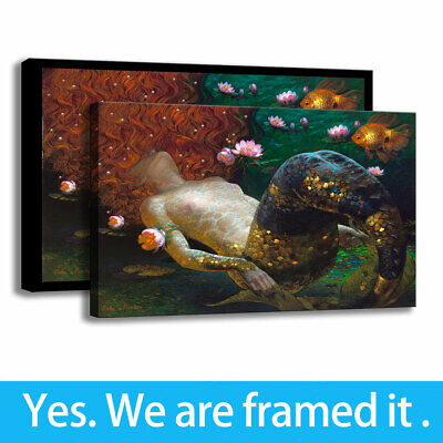 Home Decor Modern Wall Art Canvas HD Print Mermaid Painting Poster 16x24