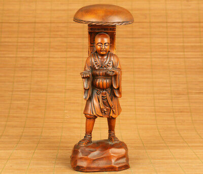 Rare chinese old boxwood hand carved Xuanzang Buddha pray statue home decoration
