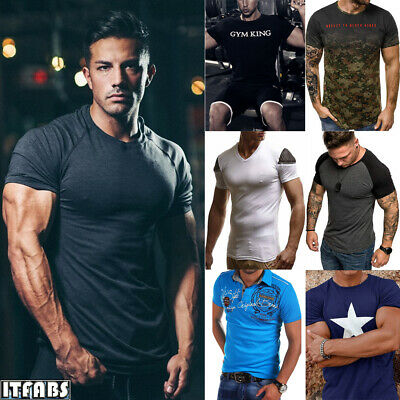 Summer Men's Short Sleeve T-Shirt Sports Fitness Muscle Breathable Tight T-Shirt