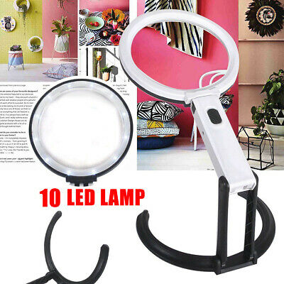LED Magnifying Glass With Light LAMP Magnifier Foldable Stand Desk Read AU