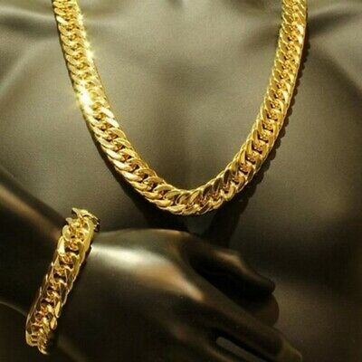 Mens Jewelry Set 18k Yellow Gold Filled Double Cuban Necklace and Bracelet Set