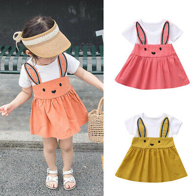 Infant Baby Kids Girls Cartoon Rabbit Bunny Ear Casual Dress Princess Dress