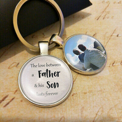 Personalised Father Son Photo Keyring Fathers Day Gifts Birthday Present Daddy