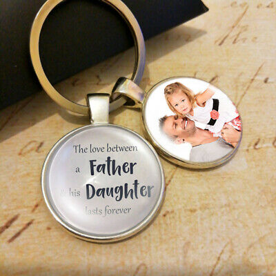 Personalised Father Daughter Photo Keyring Christmas Gifts Presents Dad Daddy
