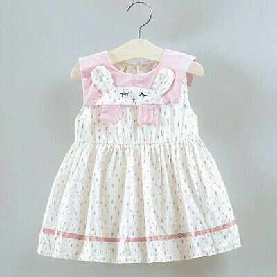 Toddler Kids Baby Girls Dot Printed Cartoon Bunny Party Princess Dress Skirt