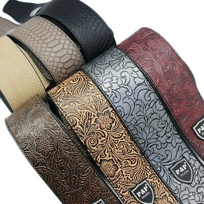 US Classic Luxury PU Leather Soft Guitar Acoustic Electric Basses Guitar Strap