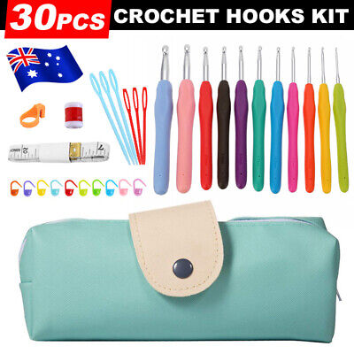 30Pcs Grip With handle Bag Needles Knitting Sets Crochet Sewing Tools Hooks BZ