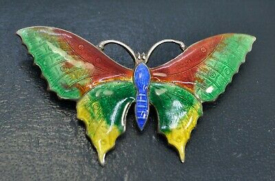 Antique STERLING SILVER & Rainbow Enamel BUTTERFLY Insect Bug BROOCH / PIN