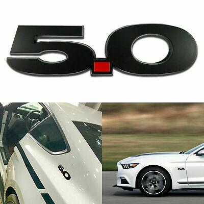 2pcs Metal Black Letter 5.0 Side Badge Sticker Fender Emblem For Ford Mustang GT