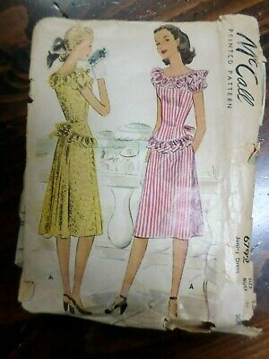 Vintage 40's Sewing Pattern McCall 6792 Dress Junior Bust 31