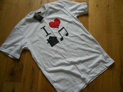 Hotscamp 'I LOVE HOUSE MUSIC'- Mens White T Shirt size s small - tshirt