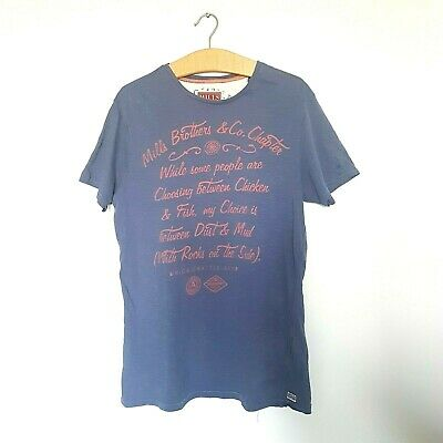 MILLS BROTHERS DarkBlue Mens Work T-Shirt Size L 100% Cotton