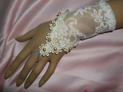 Ivory Lace Cropped Fingerless Gloves With  Gold Pearl Trim - Wedding Steampunk