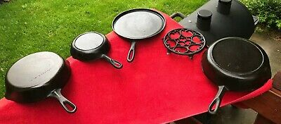 "Cast iron skillet lot 5 cookware pieces Skillets Round Griddle ""Wagner"" Arch"