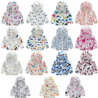 Kids Boy Girl Summer Sunscreen Jacket Printing Hooded Outerwear Zipper Coats