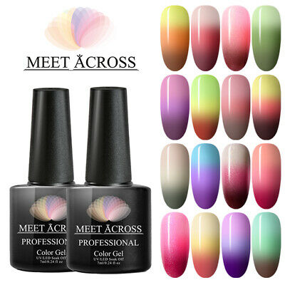 MEET ACROSS Nail UV Gel Polish Thermal Color Changing Glitter Shimmer Soak Off