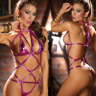 Women Sexy Lingerie Metal Leather G-string Thongs Babydoll Hollow Sleepwear Set