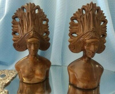 Vintage African Wood Carved Busts -- Tribal Headdress