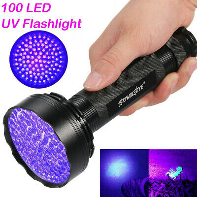 UV Ultra Violet 100 LED Flashlight Blacklight Light 395 nM Inspection Lamp Torch