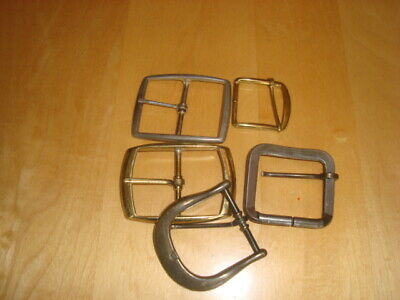 Mixed Lot of 5  Brass and Silver Metal Belt Buckles
