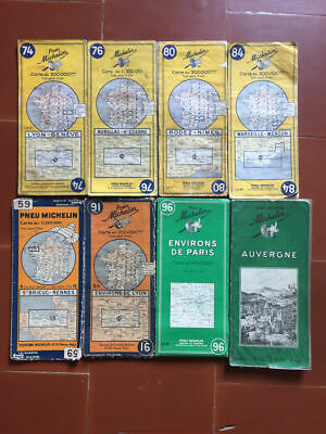 8 Cards Guide Michelin Lyon, Aurillac, Rodez, Marseille, Rennes, Paris 60's
