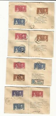 British Colonies: 4 covers of coronation Queen Elizabeth, King George VI. BY22