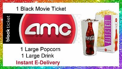 AMC Theaters Black Movie Ticket 1 Large Popcorn 1 Large Drink -Instant delivery