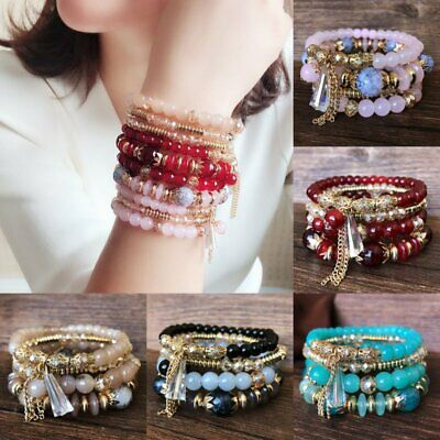 4Pcs Boho Multilayer Natural Stone Crystal Beaded Bracelets Charm Wristband Set