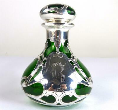 N950 Antique American Silver Overlay To Green Glass Scent Perfume Bottle