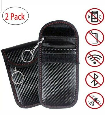 2X Signal Blocker Car Key Case Faraday Cage Fob Pouch Keyless RFID Blocking Bag