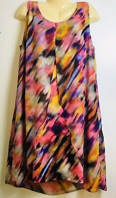 Ladies Plus Size 2X XXL Sleeveless Overlay High Low Dress Summer Studio Works