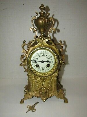 Antique French Mantel Clock, 8 Day, Time/Strike, Key-Wind