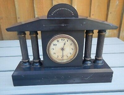 ANTIQUE SMALL GERMAN H.A.C POLISHED SLATE~BRASS CORINTHIAN COLUMN MANTEL CLOCk