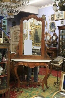 Console Luigi Filippo with Mirror, Period 1850 about, Wood Walnut