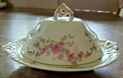 Vtg Warwick China Butter Dish With Lid And Trivet White Porcelain Pink Flowers