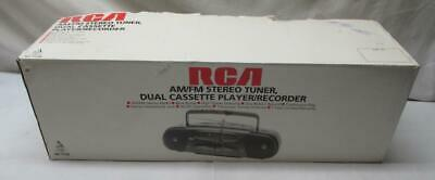 NEW ~ RCA AM/FM Stereo  Dual Cassette Player/Recorder Portable Boombox  RP-7720