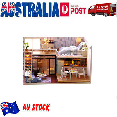 DIY Wooden Dollshouse Miniature Kit w/ Lights - Resort House & Furniture