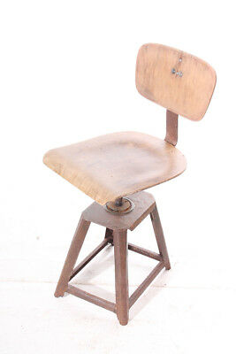 Old Wood Office Chair Swivel Chair Loft Architects Workshop Seat Old Vintage