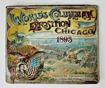 1893 antique COLUMBIAN EXPOSITION Chicago Worlds Fair POPUP queens table syrup